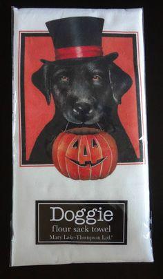 "Mary Lake Thompson""Trick or Treat Doggie"" Flour Sack Kitchen Towel 30"" x30"" New | eBay"