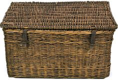 Antique European Basket Trunk
