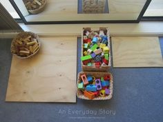 A look inside an inquiry- based homeschool room inspired by the Reggio Emilia approach: Nature shelf, art area, construction area & work shelves.
