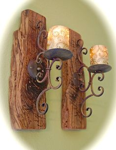 """Distressed Reclaimed Wood & Iron Wall Sconces (2) Chunky 2 """" Thick Wood 19"""" Tall- 5"""" Wide 9"""" front To Back- Comes Ready to Hang - Very Cool by BeachDazzled on Etsy"""