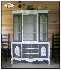"""A Vintage French Country Hutch updated and now elegant with paint, a poster and some chicken wire. Pure & Original paint in """"Ristretto"""" and """"Spring Blossom"""" #pure&original"""