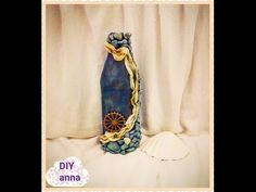 Christmas decoupage shabby chic texture bottle with toilet paper DIY ideas decoration craft tutorial - YouTube