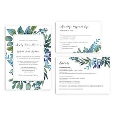 Watercolour Green and Blue Leaves Wedding Invitation Suite by PaperBoundLove on Etsy
