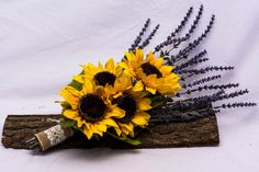 Wedding Bouquet Lavender Bouquet Sunflower Bridal by FabbCreations