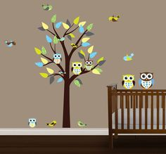 $23.48 Owls on a Tree Wall Decals for Girls Rooms and Baby Nursery - Cute Owls Baby Nursery Wall Stickers - Owl Alphabet Wall Murals Decor  Pinterest ...
