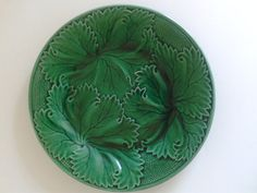 Green Majolica Plate Clairfontaine France. by lampsandotherstars