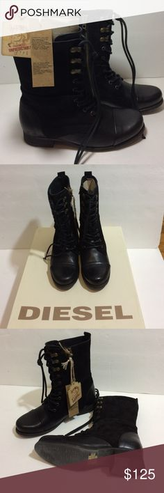 DIESEL Wild Land Suede Leather Combat Boots Size 6 DIESEL The Wild Land Gives Back size 6 & 5 leather and suede combat boots.  The size 5 box is a little more damaged or banged up. Diesel Shoes Ankle Boots & Booties