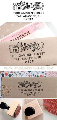 Custom address stamp with banner, rubber stamp, return address stamp, personal stamp, wedding stamp, christmas or housewarming gift www.mysplendidsummer.etsy.com