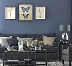 Navy blue living room furniture ideas sofa decorating denim and grey home decor licious Navy Blue Living Room, Blue Rooms, New Living Room, Home And Living, Denim Drift Living Room, Grey Room, Gray Bedroom, Trendy Bedroom, Living Room Ideas Grey And Blue