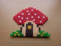 Mushroom cottage Hama / Fuse  / perler Beads see more at my site http://www.kevinsimon.co.uk/?p=4658