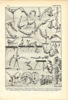 Vintage SPORTS GYMNASTICS Print - horizontal bar, pommel horse - French Illustration - 1948. $13.00, via Etsy.