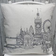 London Landmarks Printed Stitch Cushion Cover by Lara Sparks Embroidery, the perfect gift for Explore more unique gifts in our curated marketplace. Blackwork Embroidery, Embroidery Applique, Machine Embroidery, Embroidered Cushions, Printed Cushions, London Landmarks, Textile Artists, Quilt Cover, Cushion Inspiration