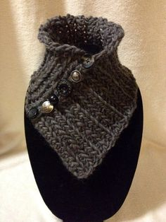 Hand Crocheted Charcoal Gray Neck by TwistedTatters on Etsy