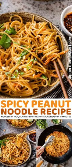 Spicy Peanut Noodles are an unbelievably easy dinner that you can have ready in under 15 minutes! Easy Asian pasta cooked in rich, slightly spicy peanut sauce. Pasta Dinner Recipes, Easy Pasta Recipes, Delicious Dinner Recipes, Easy Meals, Cooking Recipes, Crowd Recipes, Ramen Recipes, Noodle Recipes, Healthy Recipes