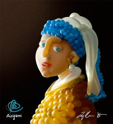 Girl with a Pearl Earring - Master Works is a series of balloon art (or Airigami) by New York artist Larry Mos.