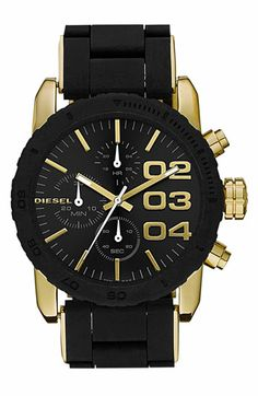 DIESEL® Round Chronograph Silicone Bracelet Watch available at #Nordstrom