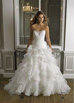 Glamorous Satin & Organza satin Ball Gown Sweetheart Neckline Wedding Dres
