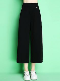 Casual Monochrome Color-blocked Loose Pants