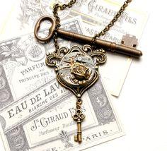 KEY Steampunk Necklace, Vintage Watch Necklace with Skeleton Key Rose in Antique Brass Steam Punk SteamPunk Jewelry by VictorianCuriosities. by VictorianCu