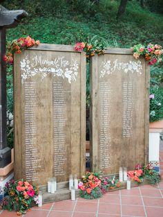 Wooden wedding escort sign: Spanish Inspired Wedding at Rancho Las Lomas