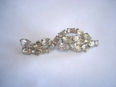 Vintage Clear Rhinestone Jewelry Brooch Silver by sanibelsands, $18.99