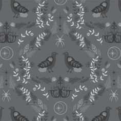 Raven Damask in Charcoal from Bewitched for Hawthorne Threads