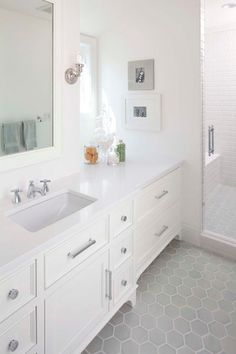 Murphy & Co. Design - bathrooms - white and gray bath, white and gray bathroom, extra wide single vanity, white countertops, white vanity wi...