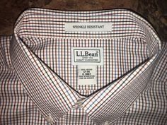 LL Bean Mens 17-34 Long Sleeve 100% Cotton Wrinkle Res Check Shirt Multi-color #LLBean #ButtonFront