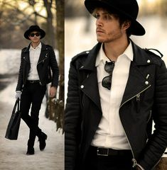 Boda Skins Leather Jacket, Similar Here  > Wide Brim, Raybans