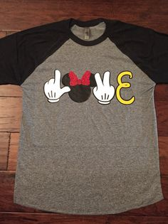 8dc1a94d Items similar to Disney World Mickey Mouse Minnie Mouse Love Raglan Shirt  on Etsy