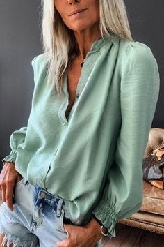 V Neck Puff Sleeve Solid Blouse #Blouses
