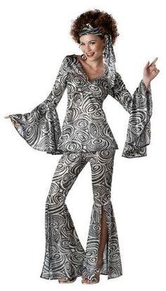 Women's Foxy Lady Silver Disco Costume