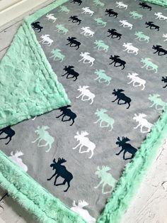 Moose Baby Blanket  Designer Minky Grey Mint White by CorkysQuilts
