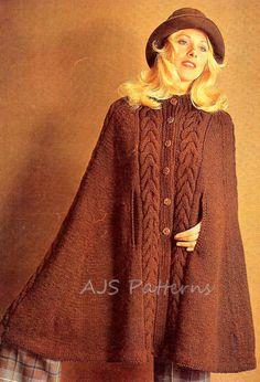 PDF Knitting Pattern - Ladies Retro Cape in Aran or DK wool.