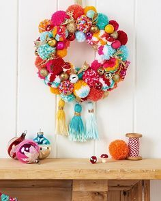 Last week to grab your copy of Mollie 72 complete with 2017 calendar and festive makes like this pom pom wreath by @sewyeah