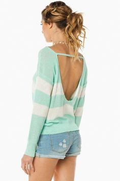 Stripes pattern this knit sweater. Low U backline,