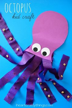 Octopus Kids Craft from iheartcraftythings.com. Great ocean craft for preschool or kindergarten.