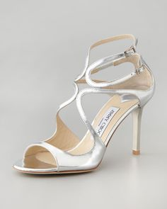 Paxton Strappy Metallic Sandal, Silver by Jimmy Choo at Neiman Marcus. Silver Strappy Shoes, Silver Sandals, Metallic Sandals, Leather Sandals, Shoes Sandals, Strappy Sandals, Bridal Shoes, Wedding Shoes, Wedding Dresses