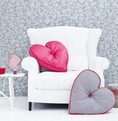 Looks very Comfy! Home Sweet Home! Pillow Fight, Pillow Talk, Valentine Love, Valentines, Sweet Home, Pink Cushions, Heart Pillow, Heart Cushion, White Couches