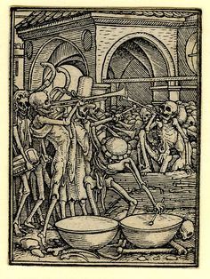 The bones of mankind; numerous skeletons with instruments, making music; a building in the background; first published with text in Les simulachres & historiees faces de la mort, avtant elegamment pourtraictes, que artificiellement imaginées c. 1526  Woodcut
