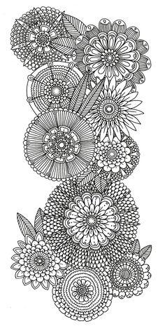 abstract doodle flower Coloring pages colouring adult detailed advanced printable Kleuren voor volwassenen