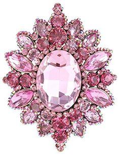Sindary 4.33 Inch Gold-tone Pink Rhinestone Crystal Flower Brooch Pendant