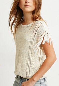 Loose-Knit Tasseled Fringe Top (Kids)   Forever 21 girls - 2000172312