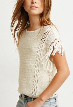 Loose-Knit Tasseled Fringe Top (Kids) | Forever 21 girls - 2000172312