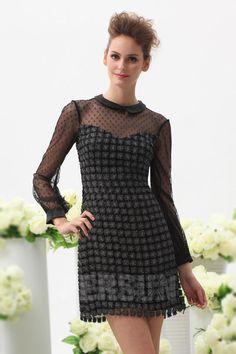 Petite robe noire brillante col claudine avec manches longues à pois - Persun.fr