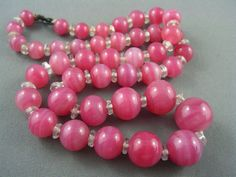Art Deco c1920's PALE ROSE Color Graduated Glass Bead Necklace DELIGHTFUL!  | eBay