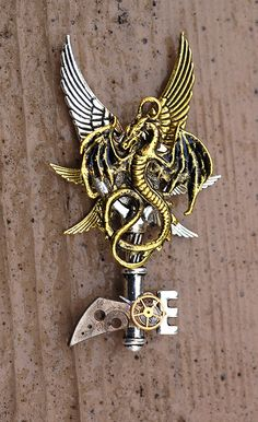 Dragon's Edge Key Necklace by KeypersCove on Etsy, $35.00