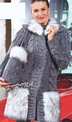 Вязаное пальто и сумка