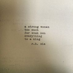 • #rhsin • i'm not in the business of making women feel like being strong is a fault or having a strong personality is an issue. i don't think a woman should dumb down things about herself in attempt to appear more appealing to us(men). a strong woman doesn't seek validation based on her relationship status nor should she feel like she has to appear weak or lost to attract a man. you'll find that men who bash a woman's strength, independence or strong will are often weak and have a difficult…
