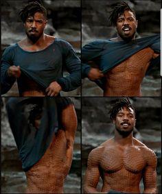 Michael b. Jordan as Erik Killmonger Erik Killmonger, Buddha, Crushes, Marvel, Statue, World, Sculptures, Sculpture